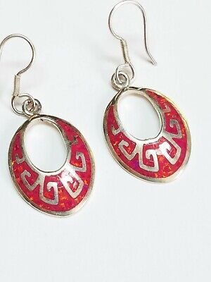 Vintage Mexico 950 Fine Sterling Silver Inlay Dangle Earrings