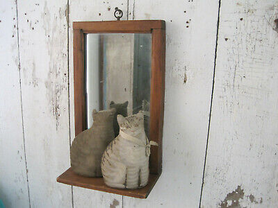 19th Century Primitive Wood Shaving Mirror with a Shelf Great American Find AAFA