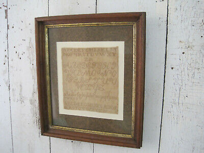 19th Century Primitive American Wonderful Fabric Alphabet Sampler Old Wood Frame