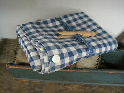 Old Primitive Blue and White HOMESPUN Fabric Textile Pillow Cover with Buttons