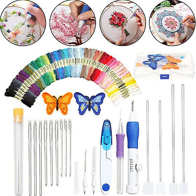 DIY Embroidery Pen Knitting Punch Needle Set + 50 Threads Set Sewing Tools Kit