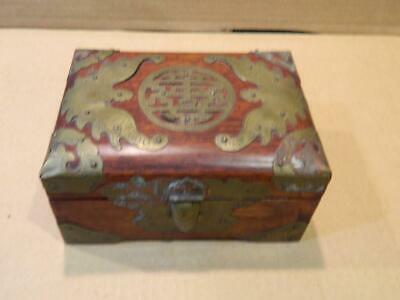 Shanghai Wood Jewelry Box Yim Kee Co. Rosewood Brass Fittings Antique