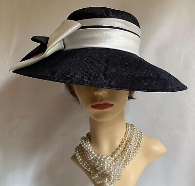 Marks And Spencer Dark Blue Straw Dress Hat With White & Blue Polyester Bow