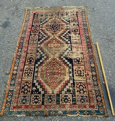 EXCEPTIONAL 19thC KUBA SHIRVAN CAUCASIAN RUG HISTORICAL OLD WEAR SOLD AS IS