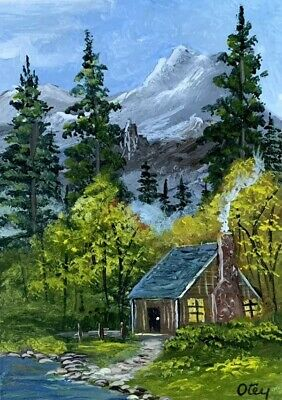Aceo, acrylic,original, landscape, Cabin By The Mountain Lake by Donna Otey