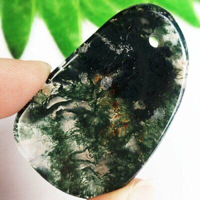 50x33x4mm Delicate Natural Green Moss Agate Freeform Pendant Bead S47278