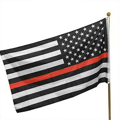 Thin Red Line USA American Flag Firefighters 3x5 Ft Banner Flag Decor Fresh