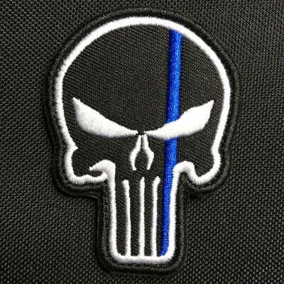 *NEW* THIN BLUE LINE PUNISHER SKULL Military Police Law Enforcement Patch Badge