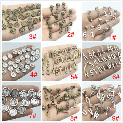 Antique Silver /Bronze Alphabet A-Z Letters Dangle Beads Charms Number charms