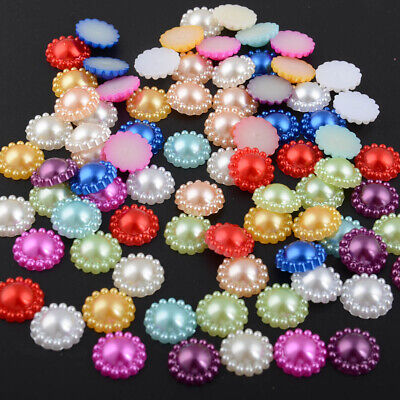 12mm 80Pcs Half Round Mix Color Resin Flat back Glue On Home/Bogs Decoration DIY