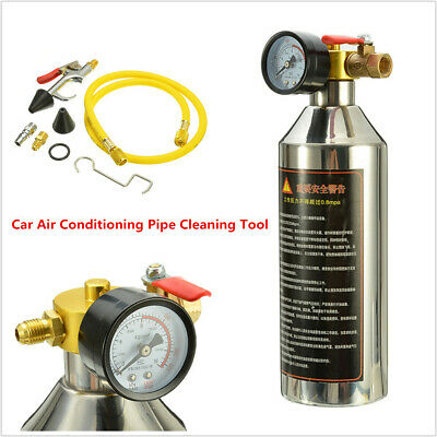 Car A/C System Air Conditioning Pipe Flush Canister Clean Tool Set R134a R12 R22