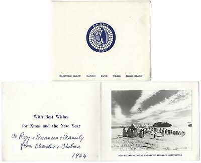 ANTARCTIC PENGUINS REAL PHOTO in ANARE CLUB CHRISTMAS CARD near ENDERBY LAND