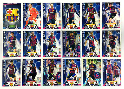 2018 2019 Topps Match Attax Champions League FC BARCELONA set of 18 cards