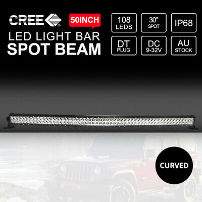 50inch Curved CREE LED Light Bar Two Rows Spot Beam 324000LM Work Driving 4x4