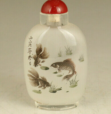Asian rare old glass Hand inside painted fish statue snuff bottle decoration