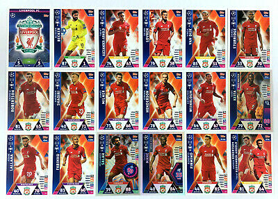2018 2019 Topps Match Attax Champions League LIVERPOOL FC set of 18 cards