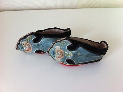Vintage Pair of Handmade Chinese Embroidered Lotus Shoes for Bound Feet - VGC