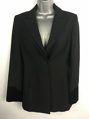 Womens Bazar Christian Lacroix Black Wool Button Up Fitted Blazer Jacket Uk 10