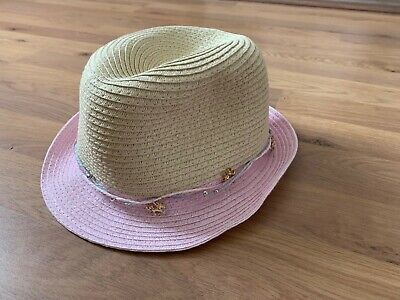 b15a3dda2 GIRLS MONSOON STRAW Summer Holidays Beach Hat Pink Orange Flower ...