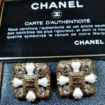 Authentic CHANEL Button Set of 2 Coco Mark White Clear Stone Genuine
