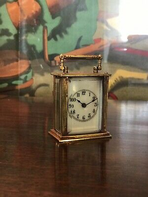 Miniature Edwardian Brass Carriage Clock