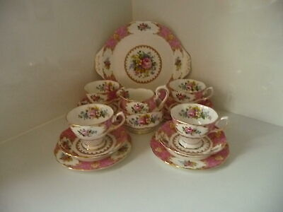Royal Albert Lady Carlyle Bone China Set Cups /Saucers Side Plates Cake Plate Cr