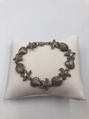 Beautiful Sterling silver seashell clam shell bracelet #353