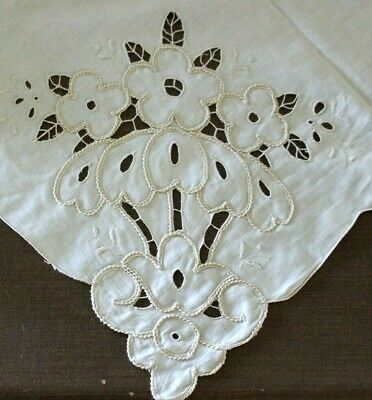 Vintage Ivory Embroidered Fancy Floral Cut Work Madeira Linen Tablecloth 51X70