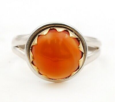 Two Tone Natural Carnelian 925 Solid Sterling Silver Ring Jewelry Sz 8 C27-2