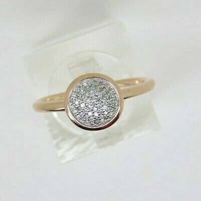 Genuine LINKS OF LONDON Diamond 18kt Rose Gold Vermeil & Pave Round Ring Size N