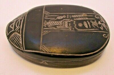 "Large Carved Soapstone Egyptian Scarab Hieroglyphic Seal  / Paperweight 3"" x 4"""