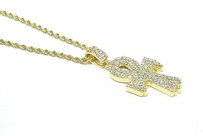 Dripping Ankh Cross Charm Pendant 14k Gold Finish Icy Bling Tennis Chain Set