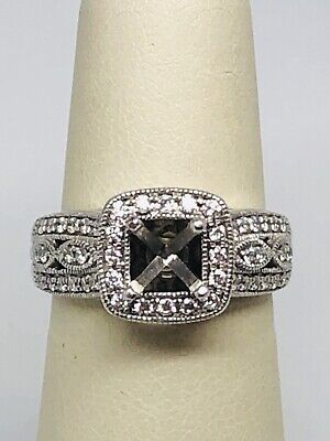 14k White Gold Diamond Semi Mount With .50 Carats Total Weight In Diamonds