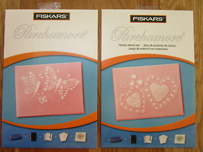 Fiskars Parchamore Stencil sest x 2 Hearts and Butterflies New Unused