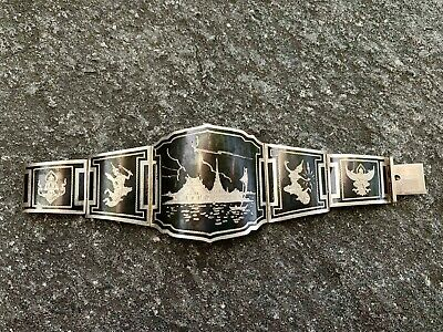 Beautiful Antique Sterling Silver Siam Etched Black Enamel Panel Bracelet