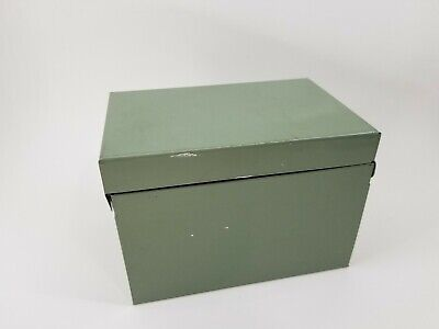 Vintage OHIO ART CO USA Green Tin Metal 3x5 Recipe Filing Index Card Hinged Box