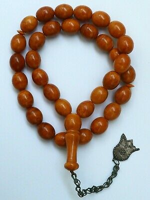 Natural Butterscotch Yolk Baltic Amber Beads Rosary Kahrman Misbah Tesbih 44 gr