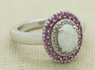 Sterling Silver Natural Fire Opal Diamond Pink Sapphire Cluster Cocktail Ring Si