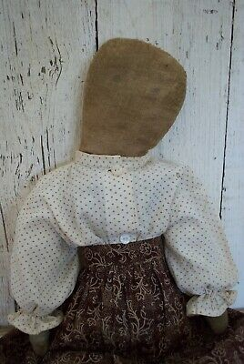 old cloth rag doll, make do, old body, early browns fabric , antique textile