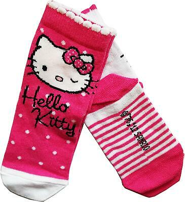 2 Pairs Ladies Girls Socks Official Hello Kitty Cat Design Comfortable stretchy