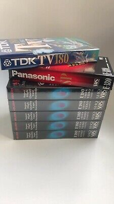 Panasonic TDK & Bush Sealed Blank 7 x Video VHS Videos Bundle 1260 Minutes Retro