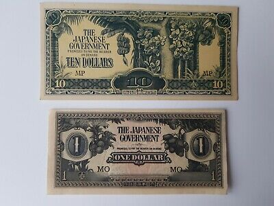 Lot: 1940s Japanese Government  $10 + $1 Dollar Japan Occupation WWII Banknoten