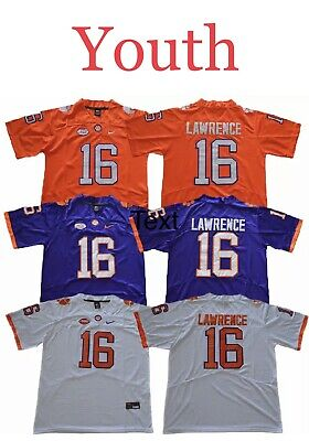 Youth Trevor Lawrence #16 Clemson Tigers 100% Stitched NCAA Football Jersey Kids