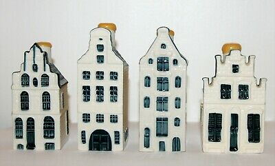4 x KLM Delft Houses With BOLS Liqueur Inside = Numbers 22, 42, 65, 76 = Sealed