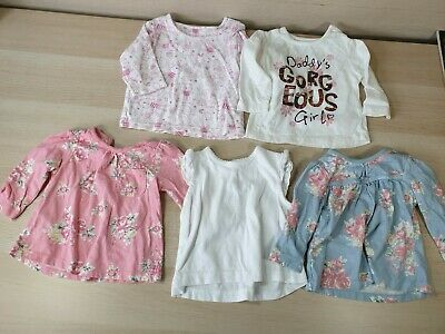 5 Baby Girl Spring/Summer Tops 0-3 Months George F&F Marks & Spencer Rabbits VGC