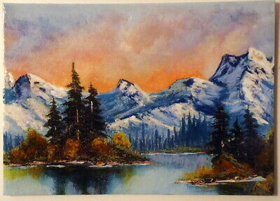 Lake in the Snowy Mountains ACEO Original Landscape PAINTING by Leslie Popp
