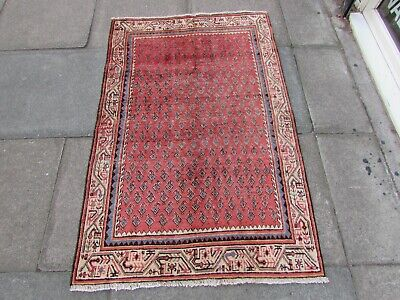 Vintage Hand Made Traditional Rug Oriental Wool Pink Small Rug 152x92cm