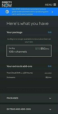 DirectTV Now Account ⭐ Go Big 105+ Channels $50 A Month