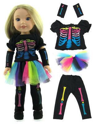"""Skeleton Halloween Costume Doll Clothes For 14.5"""" American Girl Wellie Wishers"""
