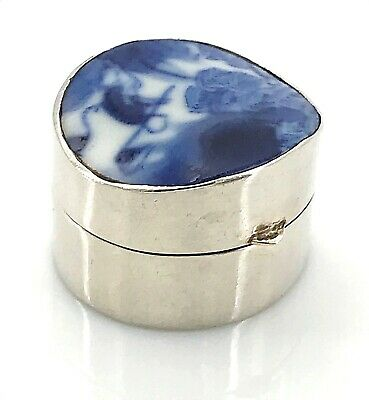 Chinese Pottery Sterling Silver Pill / Trinket Box or Snuff Box, Vintage